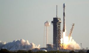 A SpaceX rocket lifts off from Kennedy Space Center in Cape Canaveral, Florida Photograph: John Raoux/AP