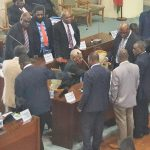 Vanuatu government MPs close ranks after the speaker moves to suspend 18 of their MPs, including the prime minister and deputy prime minister. 8 June 2021 Photo: RNZ Pacific/ Hilaire Bule